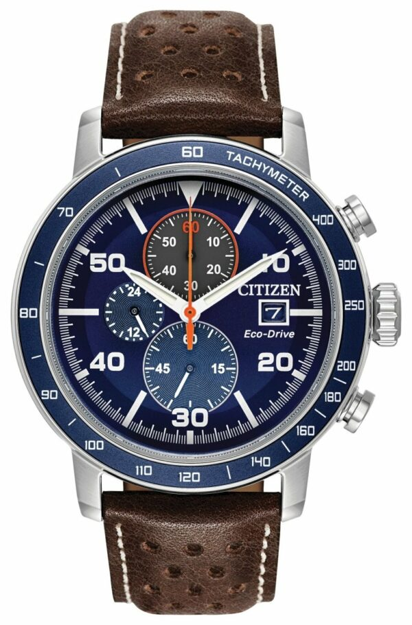 CITIZEN Brycen 44mm Men's Aluminum Plated Bezel Leather Watch - Brown - Gemorie