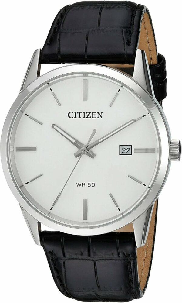 CITIZEN Quartz Black Leather Strap Watch - Gemorie