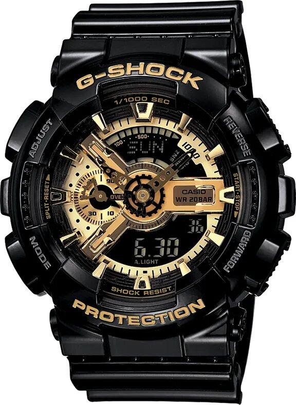 G-SHOCK G-SHOCK 5 Alarms High Gloss Finish Men's Watch - Black and Gold - Gemorie