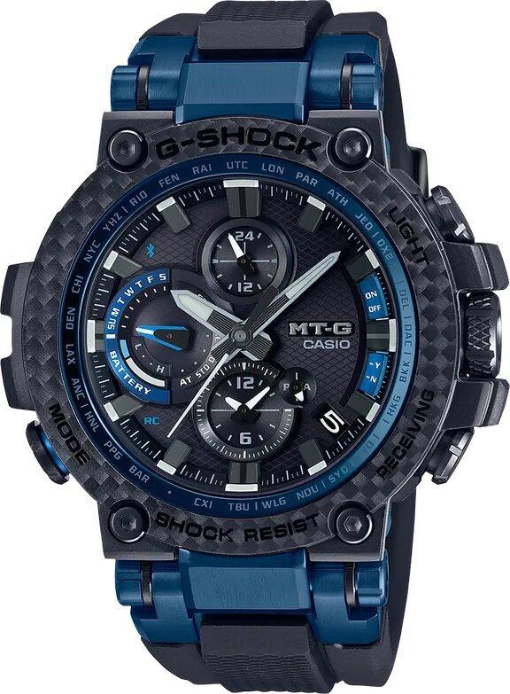 G-SHOCK G-SHOCK MT-G Solar Powered Radio Control Men's Watch - Black and Blue - Gemorie