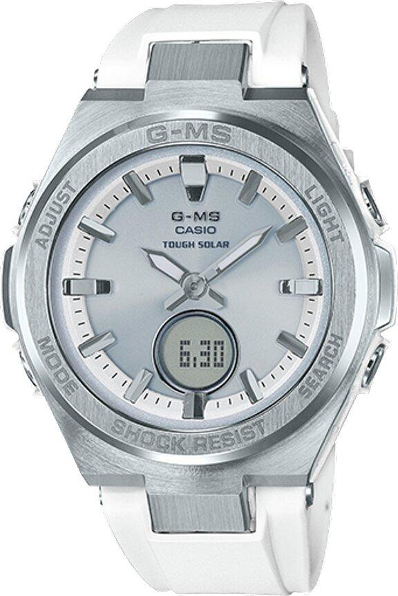 G-SHOCK G-SHOCK Rechargeable Neobrite Shock Resistant Women's Watch - White & Stainless Steel - Gemorie
