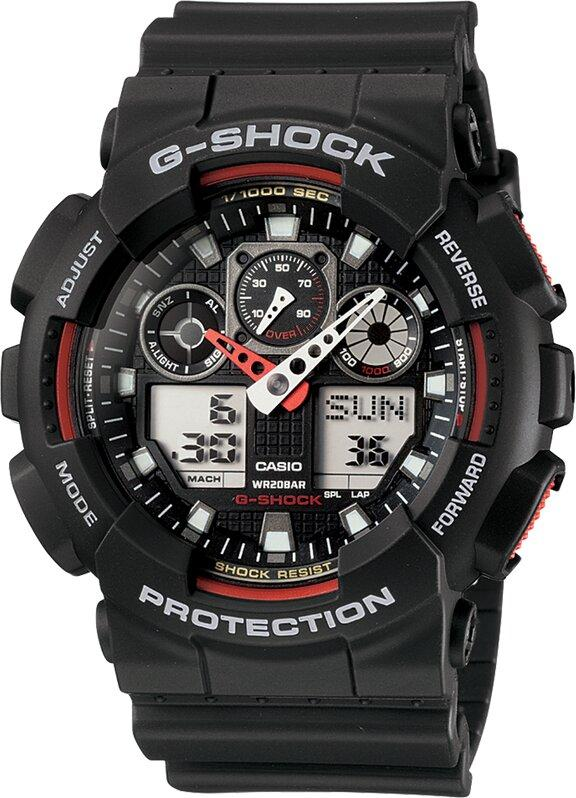 G-SHOCK G-SHOCK Stopwatch & Speed Indicator Men's Watch - Black & Red - Gemorie