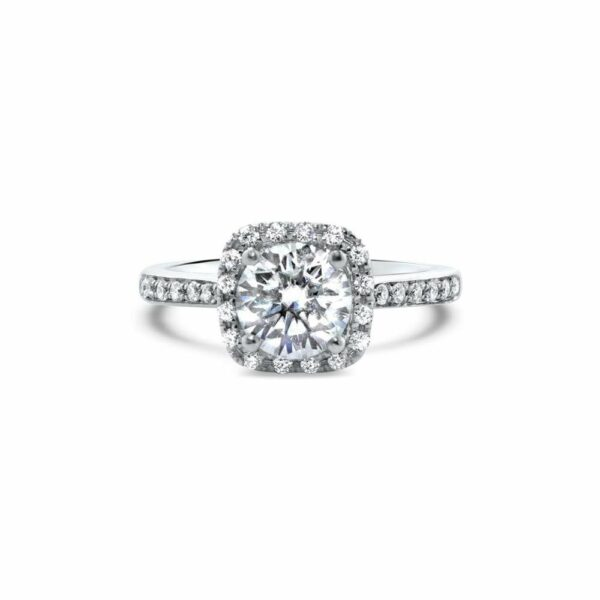 "GEMODA GEMODA ""Angel"" Moissanite 1ctw Moissanite Square Halo 18k Engagement Ring - Gemorie"