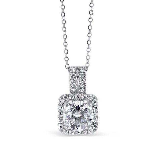 "GEMODA GEMODA ""Angel"" Moissanite 1ctw Square Halo 18k Pendant Necklace - Gemorie"