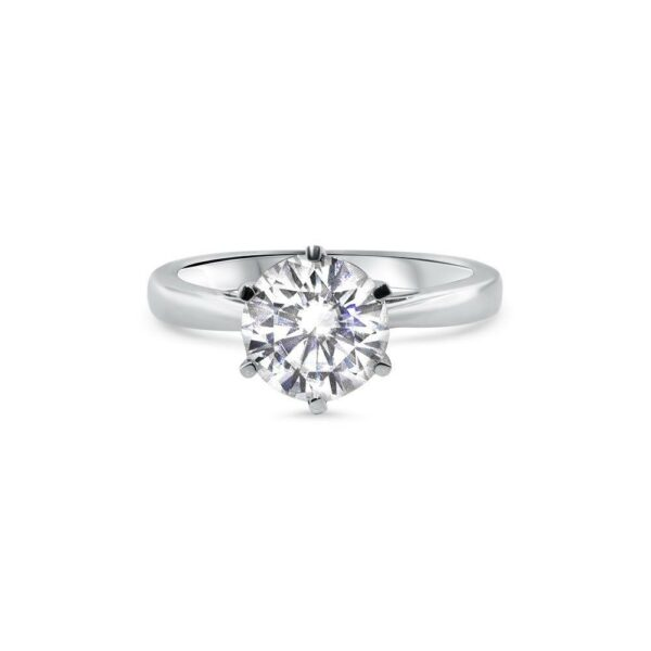 "GEMODA GEMODA ""Bella"" Moissanite 2ctw Brilliant Round Solitaire 18k White Gold Engagement Ring - Gemorie"