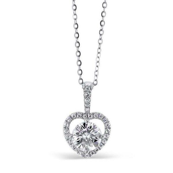 """GEMODA GEMODA """"Beloved"""" 1ctw Moissanite Necklace with Heart Halo - Gemorie"""