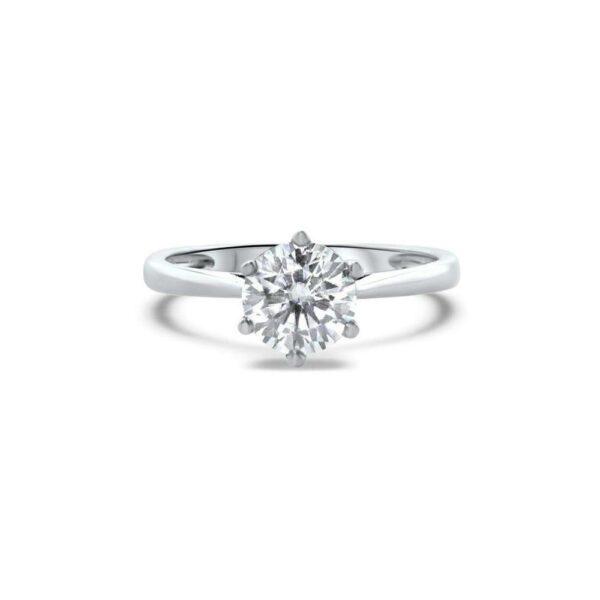 "GEMODA GEMODA ""Cherish"" 1ctw Moissanite Signature Round Solitaire 18k Engagement Ring - Gemorie"
