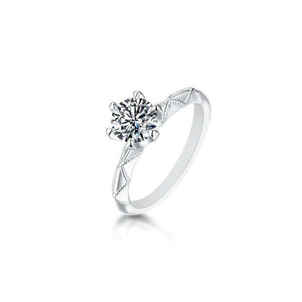 "GEMODA GEMODA ""Edith"" 1 Carat Moissanite Ring in 925 Sterling Silver - Gemorie"