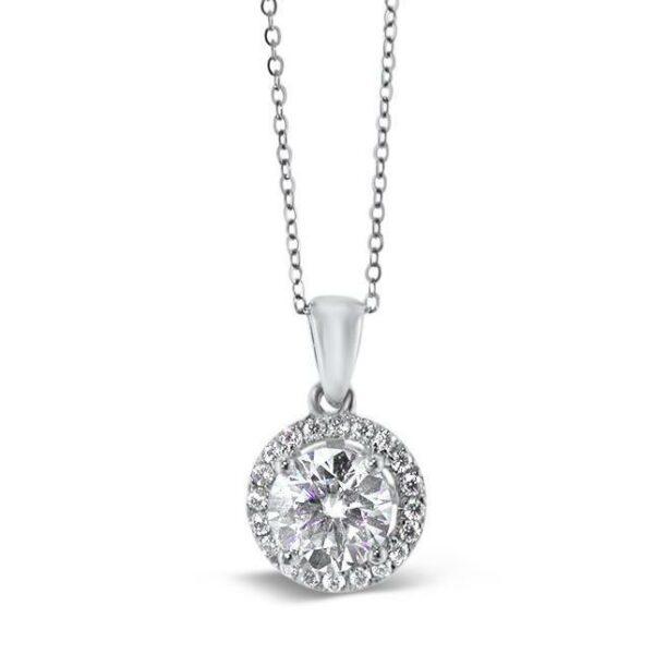 """GEMODA GEMODA """"Eternity"""" Moissanite 1ctw Round Halo Necklace in 18k Gold - Gemorie"""