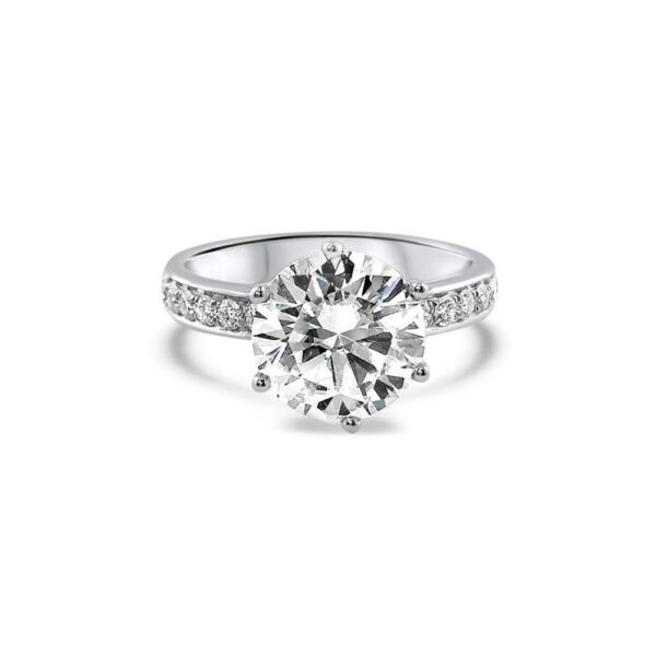 "GEMODA GEMODA ""Francais"" Moissanite 3ctw Brilliant Round French Set 18k Engagement Ring - Gemorie"