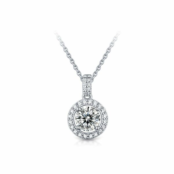 "GEMODA GEMODA ""Francis"" 1 Carat Halo Moissanite Necklace in 925 Sterling Silver - Gemorie"