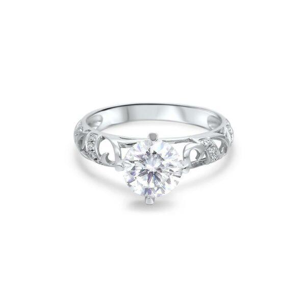 "GEMODA GEMODA ""Harmony"" 1ctw Moissanite Engagement Ring in 18k White Gold Filigree Vintage InspiredSetting - Gemorie"