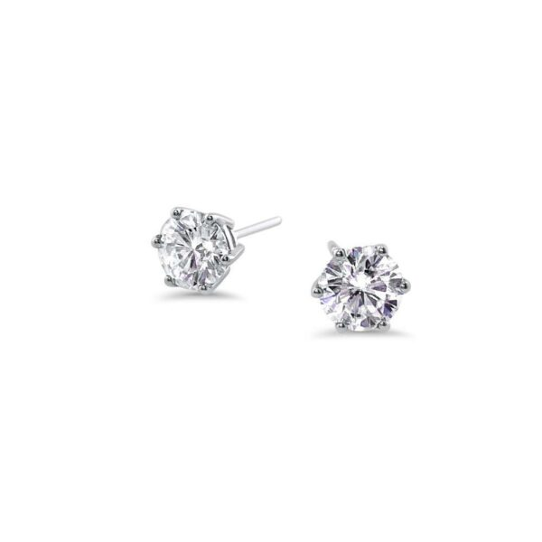 "GEMODA GEMODA ""Martinique"" Moissanite 1ctw Round Colorless Solitaire Earrings - Gemorie"