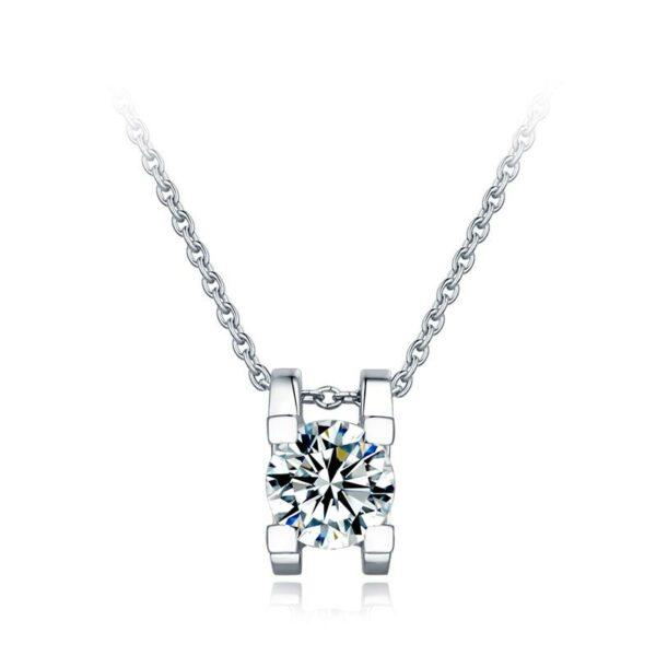 "GEMODA GEMODA ""Moderna"" Ox Set Moissanite 18K White Gold Pendant Necklace - Gemorie"
