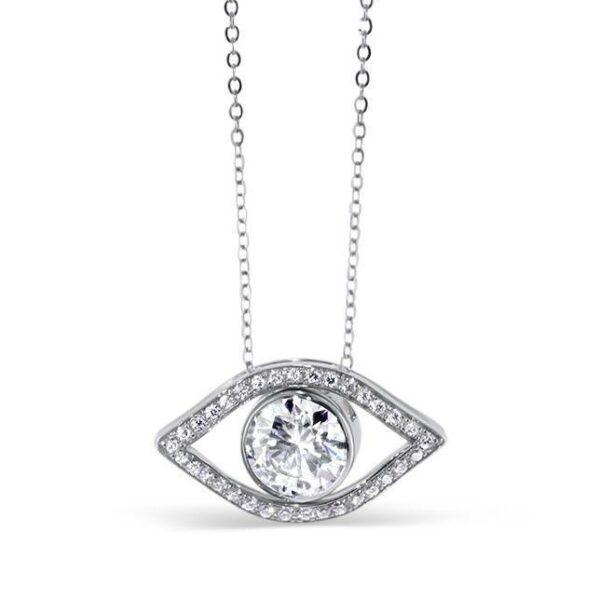 "GEMODA GEMODA Moissanite ""Evil Eye"" 1ctw Round Colorless Pendant in 18k White Gold - Gemorie"