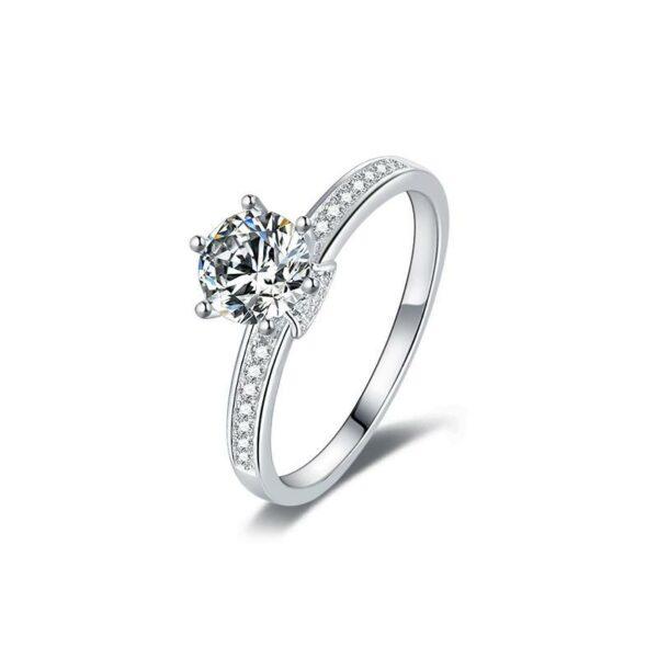 "GEMODA GEMODA ""Octavia"" Moissanite Vintage Engagement Ring in 925 Sterling Silver - Gemorie"