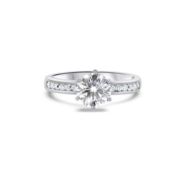 "GEMODA GEMODA ""Posh"" 1ctw Brilliant Round Moissanite Channel Set 18k Engagement Ring - Gemorie"