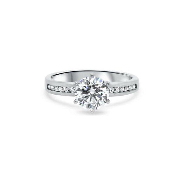 """GEMODA GEMODA """"Romance"""" Moissanite 1ctw Round Channel 18k White Engagement Ring - Gemorie"""