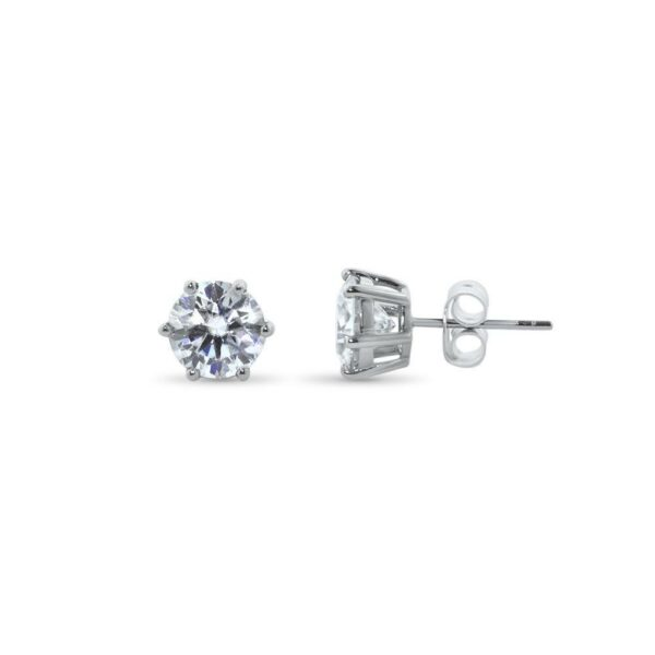 "GEMODA GEMODA ""Rosé"" Moissanite 3ctw Round Colorless Solitaire Earrings (1.5ct ea) - Gemorie"
