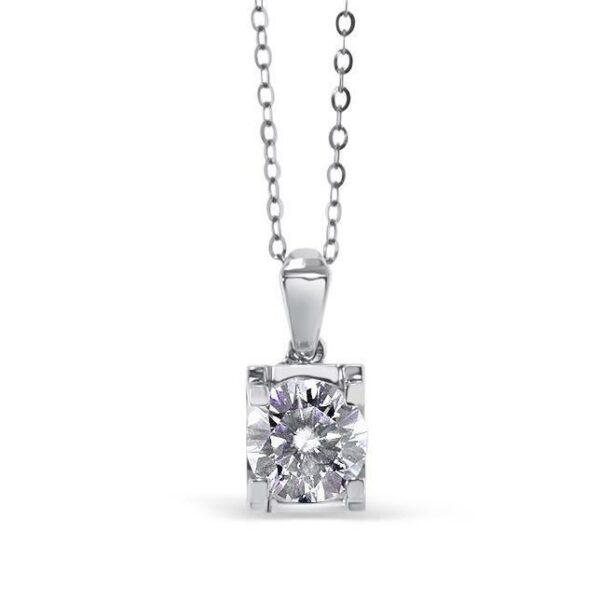 """GEMODA GEMODA """"Trinity"""" Moissanite 1ctw Round Solitaire Necklace in 18k Gold - Gemorie"""