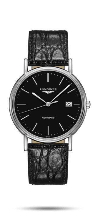 LONGINES LONGINES Présence Premium Crocodile Style Leather Men's Watch - Black - Gemorie