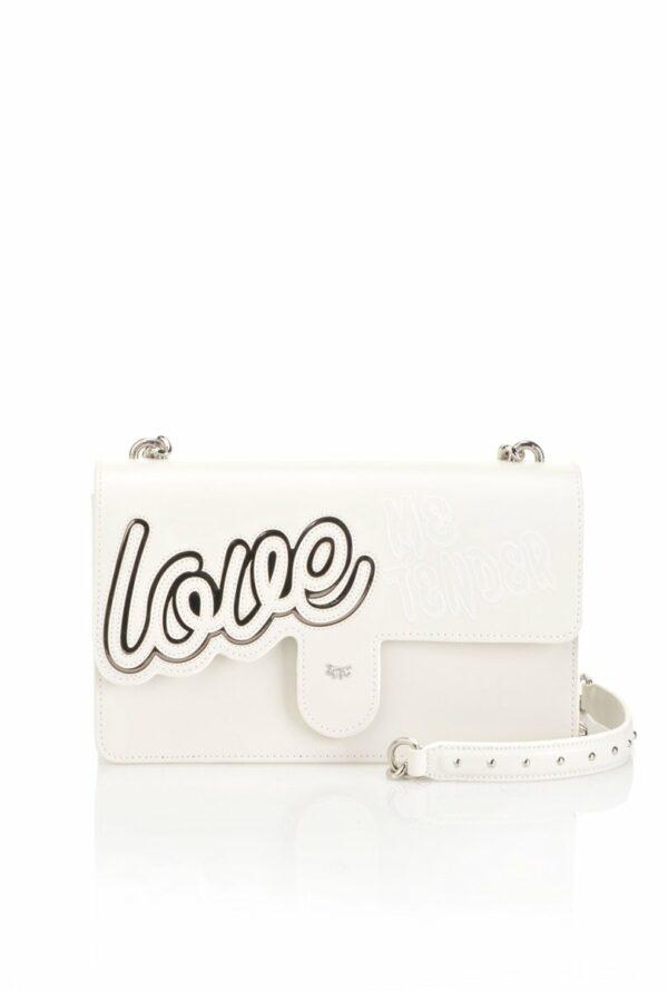 "PINKO PINKO- Leather ""Love Love"" Bag in Inlay- Silver Grey - Gemorie"