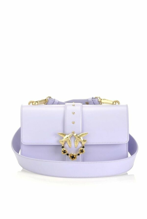 Pinko PINKO- Love Bag Simply in Leather with Jewel Buckle- Lilac - Gemorie