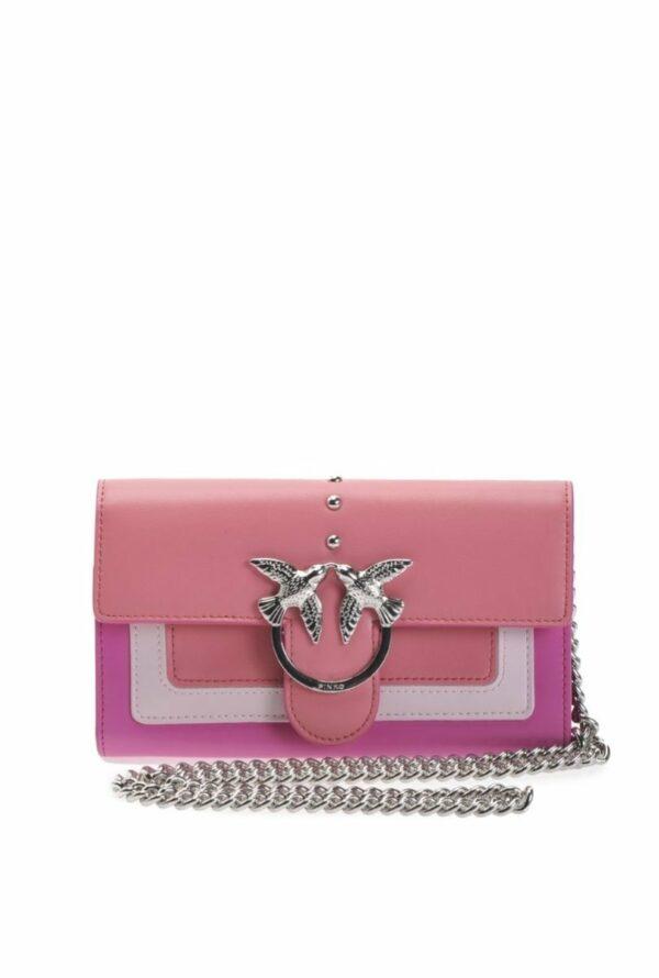 Pinko PINKO- Two Tone Golgotha Wallet with Shoulder Strap- Pink - Gemorie