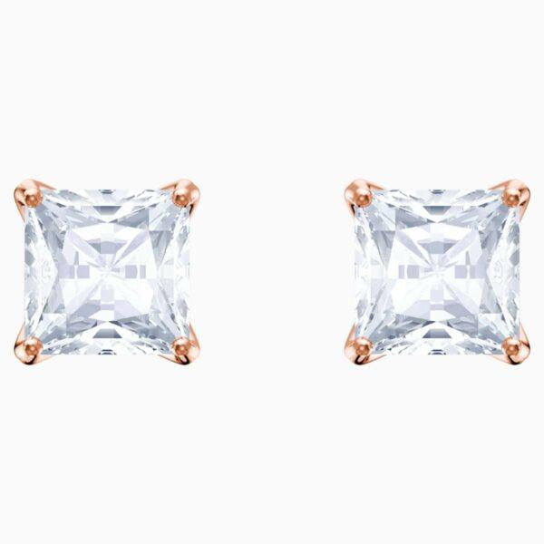 Swarovski SWAROVSKI Attract Stud Pierced Earrings - White & Rose-Gold Tone Plated - Gemorie