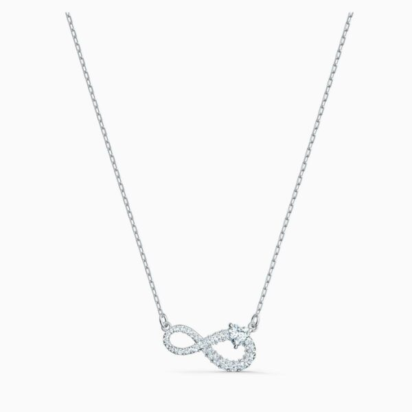 Swarovski SWAROVSKI Infinity Necklace - White & Rhodium Plated - Gemorie