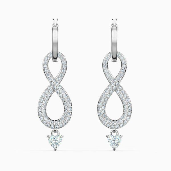 Swarovski SWAROVSKI Infinity Pierced Earrings - White & Rhodium Plated - Gemorie