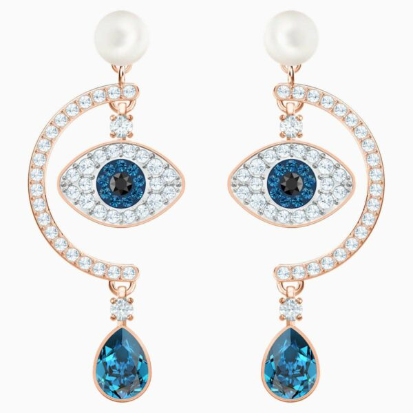 Swarovski SWAROVSKI Luckily Evil Eye Pierced Earrings - Blue & Rose-Gold Tone Plated - Gemorie