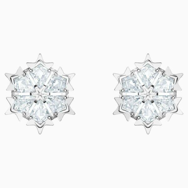 Swarovski SWAROVSKI Magic Pierced Earrings - White & Rhodium Plated - Gemorie