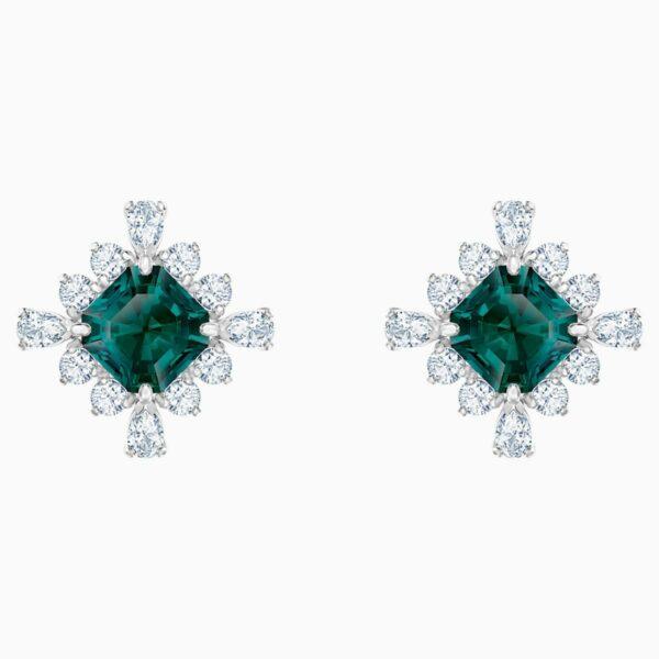 Swarovski SWAROVSKI Palace Stud Vintage Earrings - Green & Rhodium Plated - Gemorie