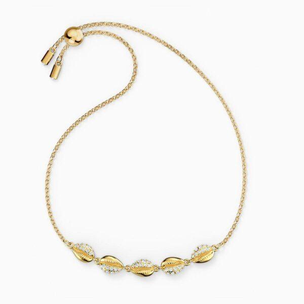 Swarovski SWAROVSKI Shell Cowrie Bracelet - White and Gold Tone Plated - Gemorie