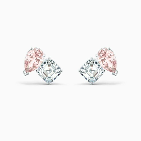 Swarovski SWAROVSKI Soul Pierced Earrings - Pink & Rhodium Plated - Gemorie