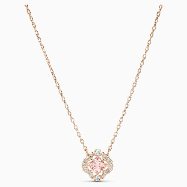 Swarovski SWAROVSKI Sparkling Dance Clover Necklace - Pink & Rose-Gold Plated - Gemorie