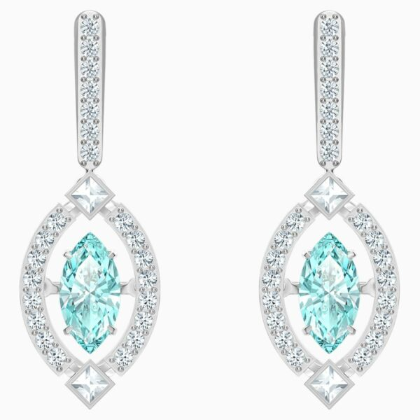 Swarovski SWAROVSKI Sparkling Dance Pierced Earrings - Green & Rhodium Plated - Gemorie