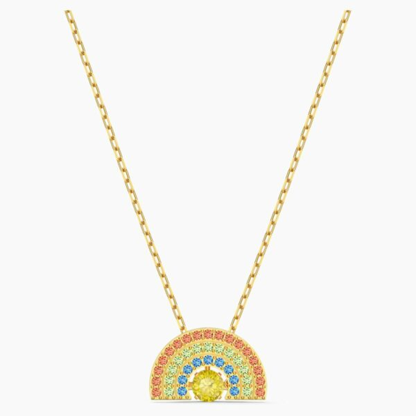 Swarovski SWAROVSKI Sparkling Dance Rainbow Necklace - Light Multicolored and Gold Tone Plated - Gemorie