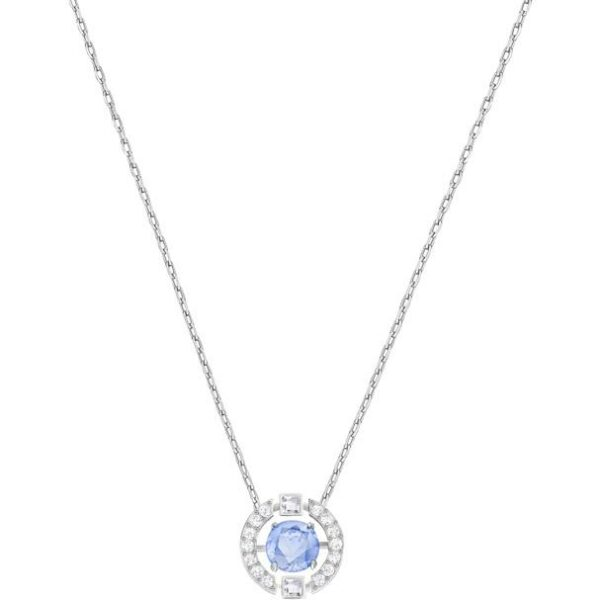 Swarovski SWAROVSKI Sparkling Dance Round Necklace - Blue & Rhodium Plated - Gemorie