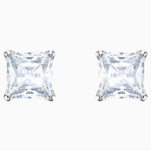 Swarovski SWAROVSKI Stud Pierced Earrings - White & Rhodium Plated - Gemorie