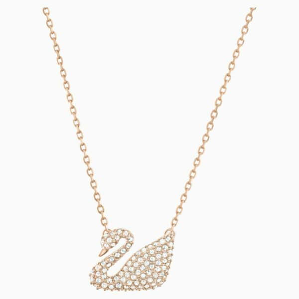 Swarovski SWAROVSKI Swan Necklace - White & Rose-Gold Tone Plated - Gemorie