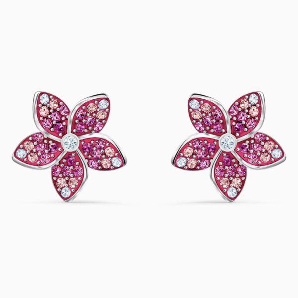 Swarovski SWAROVSKI Tropical Flower Pierced Earrings - Pink & Rhodium Plated - Gemorie