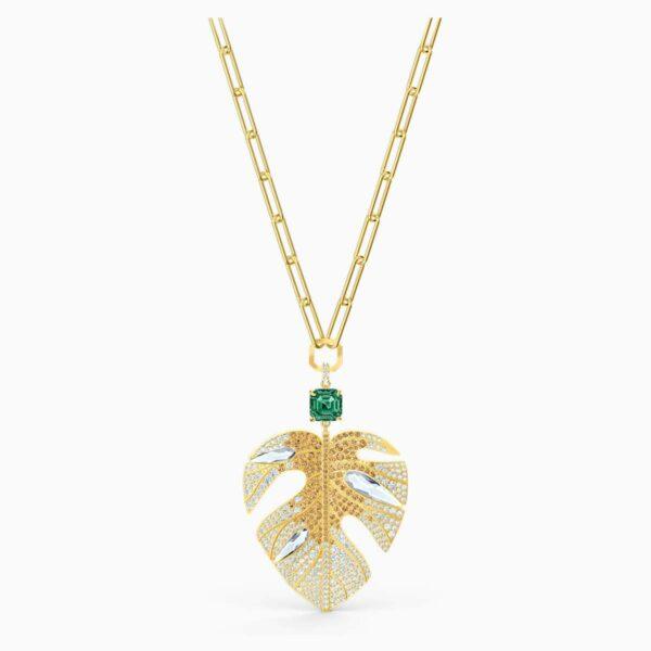 Swarovski SWAROVSKI Tropical Leaf Pendant - Light Multicolor and Gold Tone Plated - Gemorie